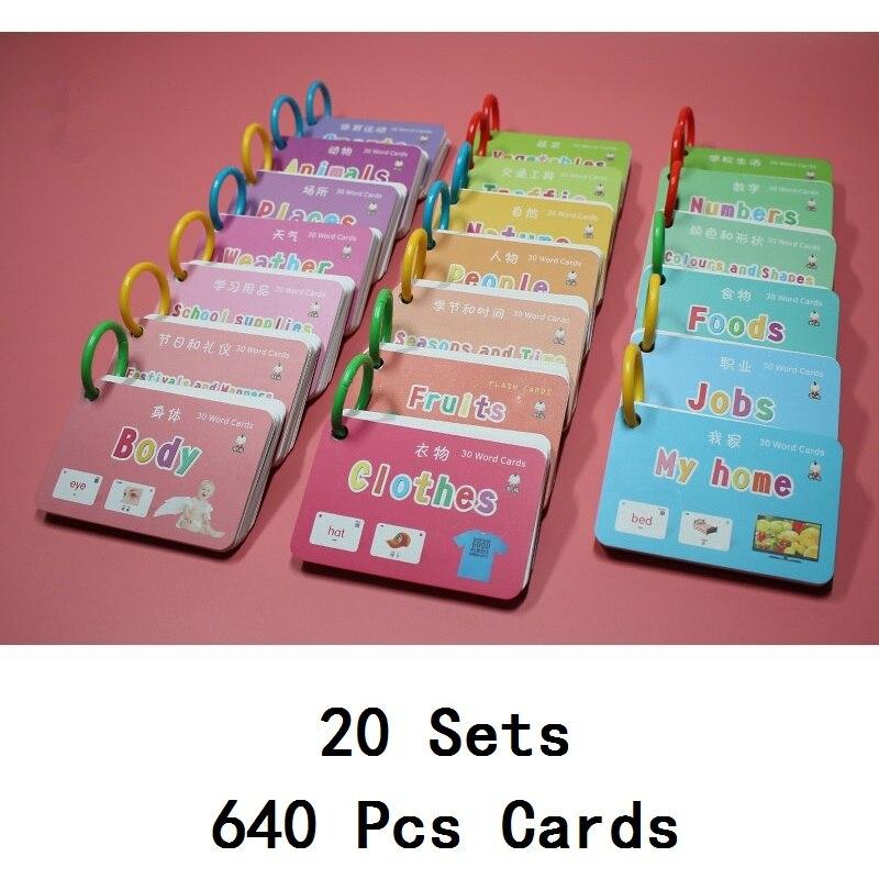 20 livres/Set 640 pièces Enfants Chinois et Anglais Cartes Flash Éducation Précoce Bébé Enfants D'apprentissage Préscolaire Cartes