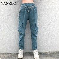 Women 2019 Summer Blue High Waist Cargo Pants Joggers Loose Sweatpants Korean Hip Hop Pants Casual Streetwear Lady Trousers A374