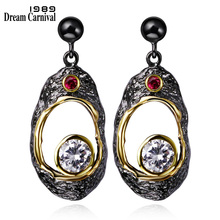 DC1989 Free shipping 2016 New vintage 18K Gold Plated Cubic Zirconia Brass Lead free Ppost pin Drop earrings for women (E03)