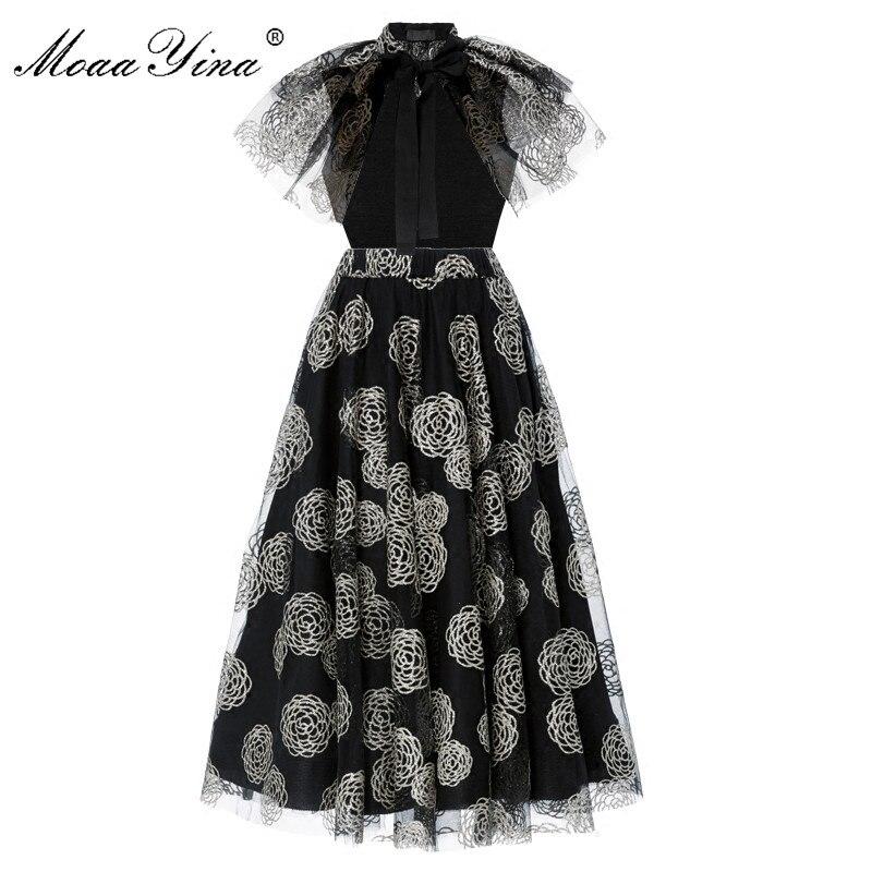 MoaaYina Moda Tasarımcısı Pist Elbise Yaz Kadın Cloak Kollu Örgü Gümüş Baskı Rahat Balo Vintage Şık Elbise