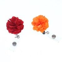 20pcs/30pcs New fashion beautiful orange / red fabric flower ID badge holder