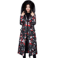 2018 high quality winter extra long jacket women's Thicken down cotton coat female outerwear Hooded fashion printing coats H0483