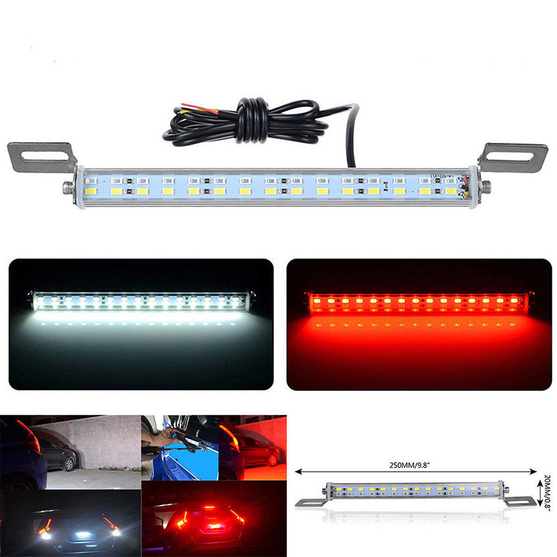 цена на SITAILE Universal 12V 30 LED Car License Plate Backup Reverse Brake Rear Light Lamp Bar Red+White Waterproof Number Plate Lamp