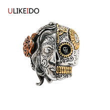 100% Pure 925 Sterling Silver Jewelry Skull Rings Maria Fashion Domineering Skeleton Punk Two Face Mens Signet Ring Special Gift