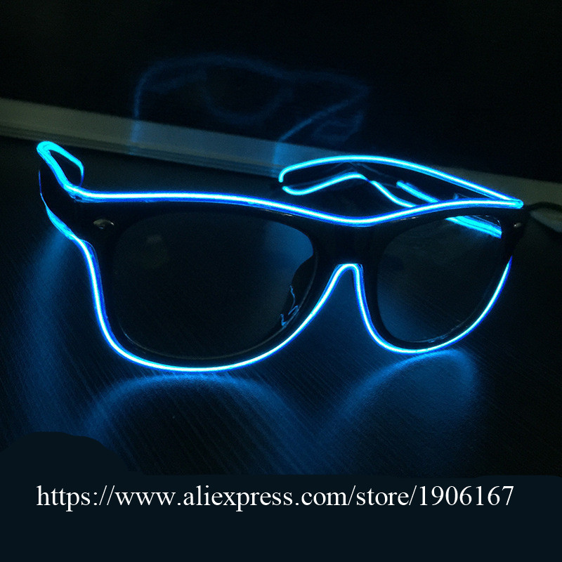 3 Modes Colorful El Wire Glasses Fashion Neon Luminous Party Glowing Glasses Classic LightingToys for Dj Bright Sun Glasses