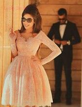 Neue ankunft elegante rosa langarm Party Kleider v-ausschnitt applique perlen spitze knie-länge puffy Spitze cocktailkleider 2017 qw27