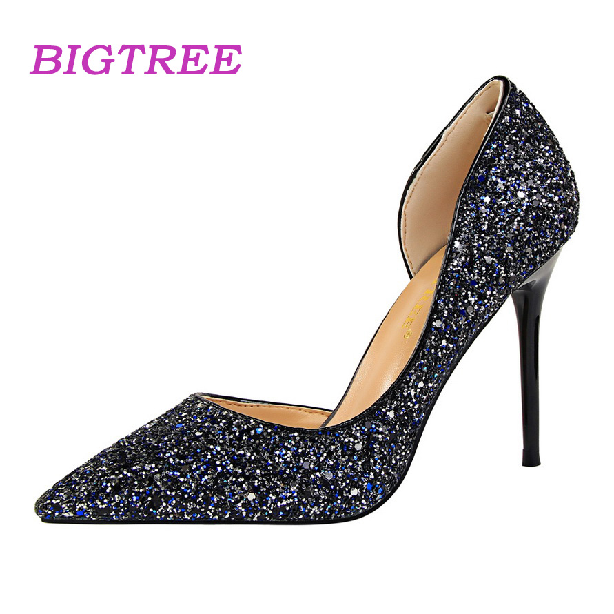BIGTREE Brand 2018 Designer Women Closed Toed Red White Pumps Wedding Party Cinderella Shoes Scarpin Bling High Heels Sandals