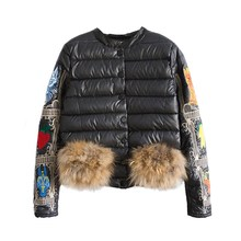 2017 Fashion Winter Warm Coat Thick Cotton Jacket Women Embroidery Fur Short Cotton Coat Outwear Parkas