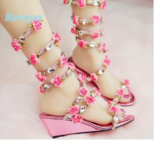 56a1b04d8652a8 Plus Size 30~45 Rhinestone Sandals Fairy Summer Flower Sandals Sexy Snake  Winding Sandals High Heels Rome Wedges Woman Shoes