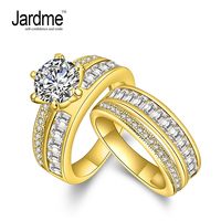 Jardme Jewelry Promise Engagement Double Rings For Couples Men Women Gold Color Pairs Wedding Ring Set