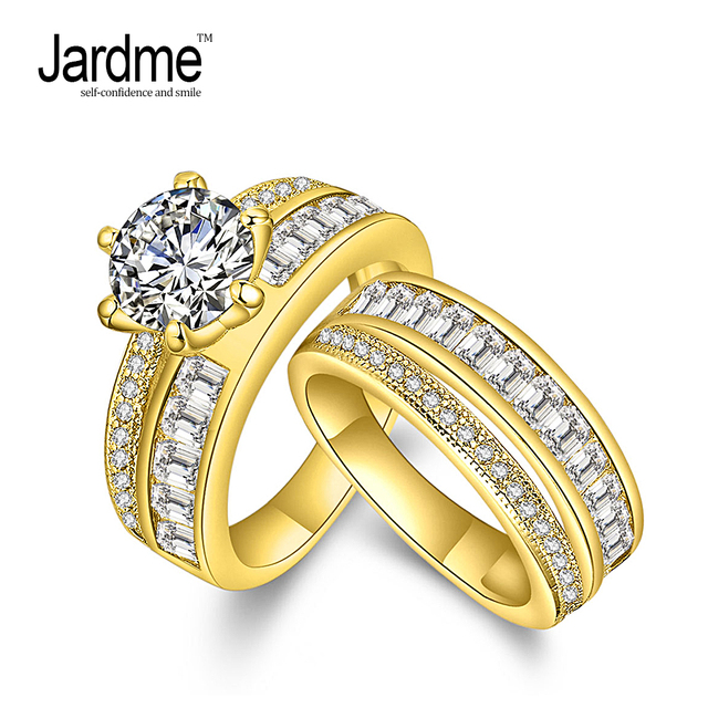 Jardme Jewelry Promise Engagement Double Rings For S Men Women Gold Color Pairs Wedding Ring Set
