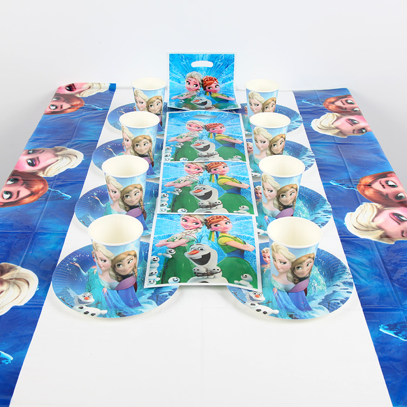 Disney Frozen theme Tableware Sets Total 61 pcs Cup+Plate+gift bag+Tablecover Children gril Birthday Party Supplies Decorations
