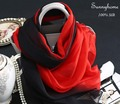 Black Red Gradient Color 100% Silk Scarves Think Soft Silk Scarf Poncho Fashion Muslim Women Shawls Summer Beach Sunscreen Capes