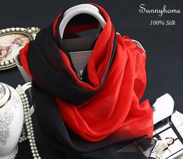 dc0470635b02e Black Red Gradient Color 100% Silk Scarves Think Soft Silk Scarf Poncho  Fashion Muslim Women