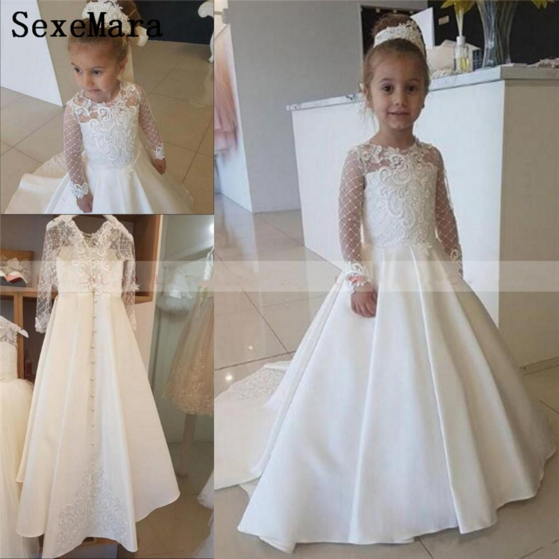 Ivory Satin Lace Applique   Flower     Girl     Dress   For Wedding Party Long Sleeves Little Kids   Girls   First Communion Gowns Pageant   Dress