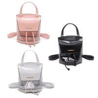 Clear PU Leather Backpack With Drawstring Mini Fashion School Bag Candy Color Jelly Bag Multi Function Shoulder Bag For Women