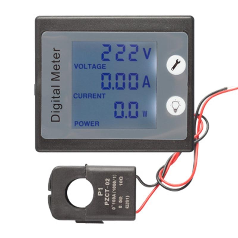Peacefair AC Monofase Digitale di Risparmio Elettrico Misuratore di Potenza Wattmetro 220 V 100A Khw Contatore di Energia PZEM-011 con CT Split
