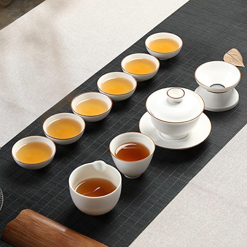 Dehua ceramic hand painted dingyao matt porcelain grease white cover bowl of kung fu tea set