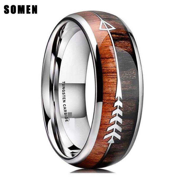 Somen 8mm Silber Natürliche Holz & Pfeil Design Wolfram Ring Für Männer Wedding Band Engagement Ring Dome Stil größe 6-13 Verfügbar