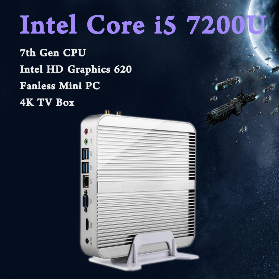 Mini PC 4K HTPC Fanless computer Core i5 7200U Kaby Lac Win10 Free Shipping Intel HD