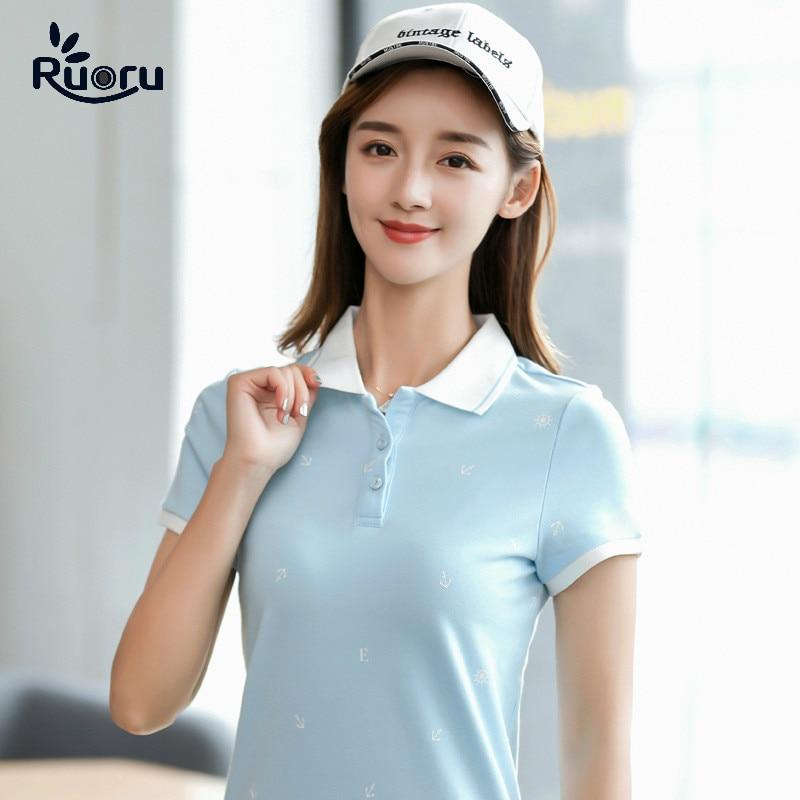 Ruoru Summer Brand Solid Polo Women Shirt Slim Short Sleeve Camisa Polo Shirt Polo Femme Women Casual Shirts Clothing Female