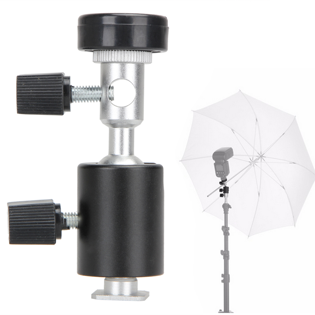 1 Pc Black Universal 360 Degree Camera Flash Hot Shoe Adapter Umbrella Holder Swivel Light Stand Bracket Type C Photography Accs