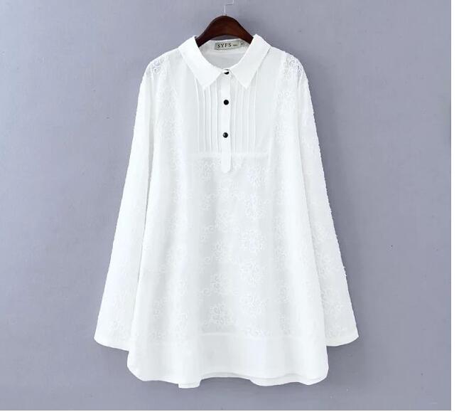 2020 spring plus size clothing white lace pullover basic shirt women top medium long loose shirts blouses female blusas XXXL 4XL