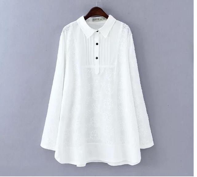 2019 spring plus size clothing white lace pullover basic shirt women top medium long loose shirts blouses female blusas XXXL 4XL