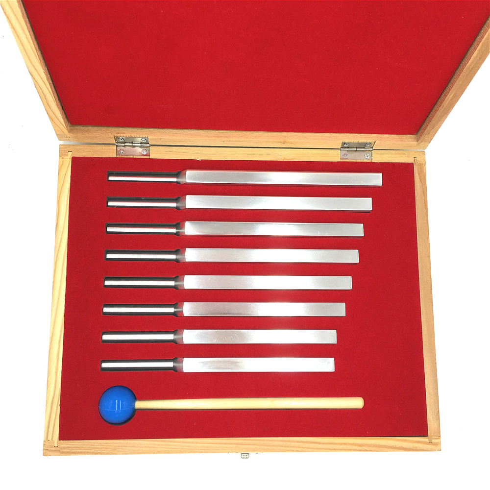 8-Piece Aluminum Tuning Fork Set Chakra Hammer Ball Diagnostic Tool For Sound Healing Therapy With Wooden Box Musical Instrument