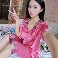 Бесплатная доставка главная одежда для женщин pijama стежка цветочные коротким рукавом квадратный воротник дамы летняя ночь костюм с бантом дизайн