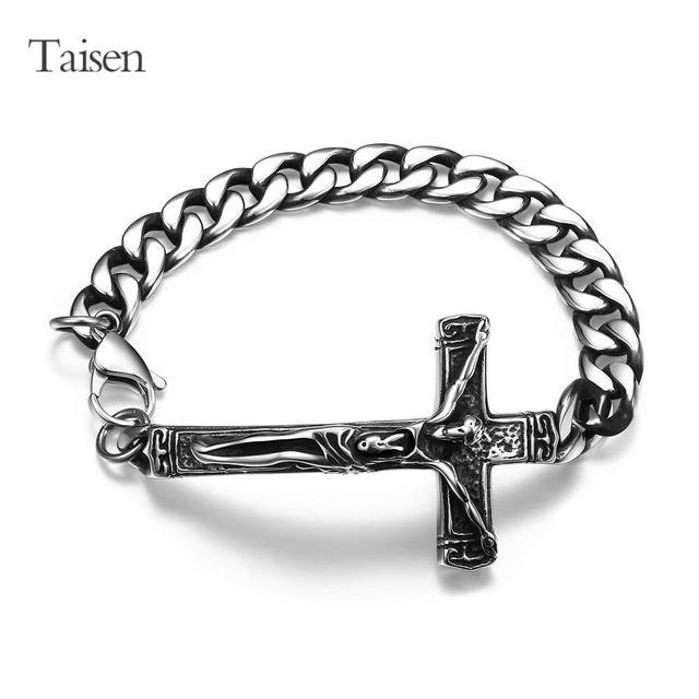 High Quality Stainless Steel Bracelets Men Cross Bracelet Chain Vintage Male Bangle Shaped