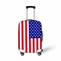 FORUDESIGNS USA UK Flag Print Covers For Trolley Suitcase Elastic Luggage Protective Cover For 18-28 Inch Dustproof Luggage Tag