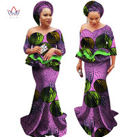 floor length Vestidos Africa Clothing Two Piece Set Plus Size Dashiki Women African Women Skirt Set with Free Head Scarf WY2252