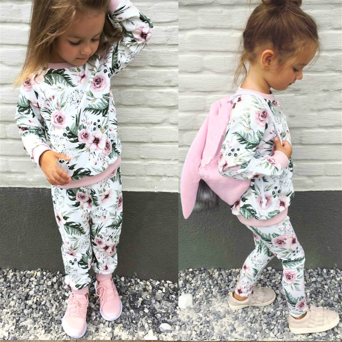 Free Shipping Kid Baby Girls Floral Clothes Set Autumn Winter Long Sleeve Cotton Hoodie Tops+Pant Girl Clothes Outfits 0-3T