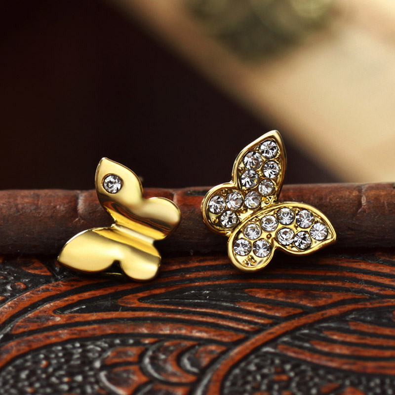 Neoglory Light Yellow Gold Color Austrian Fashion Butterfly Stud - Bisutería - foto 4