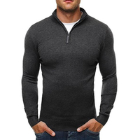 La MaxPa Brand Sweater Pullover Men Casual Slim Sweaters Classic Zipper High Collar Simple Solid Color