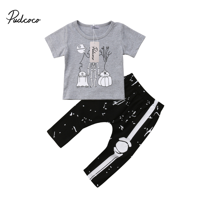 8e6c9ccca2fb Halloween 2Pcs Baby Toddler Boys Skeleton T shirt Tops +Bone Pants ...