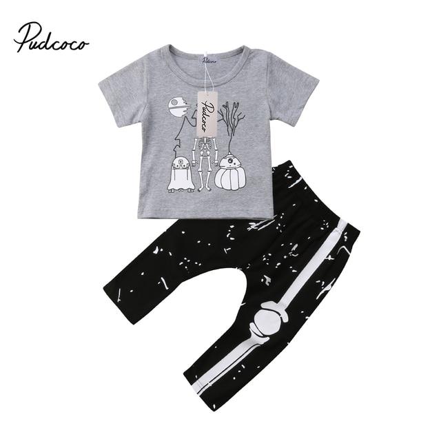 8e6c9ccca2fb Halloween 2Pcs Baby Toddler Boys Skeleton T shirt Tops +Bone Pants ...