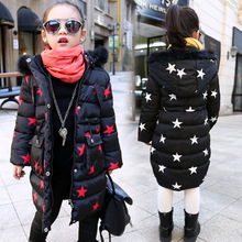 Girls New Children's Child Star New Year Long Warm Coat Jacket Cotton Padded Printed Black Red Fur