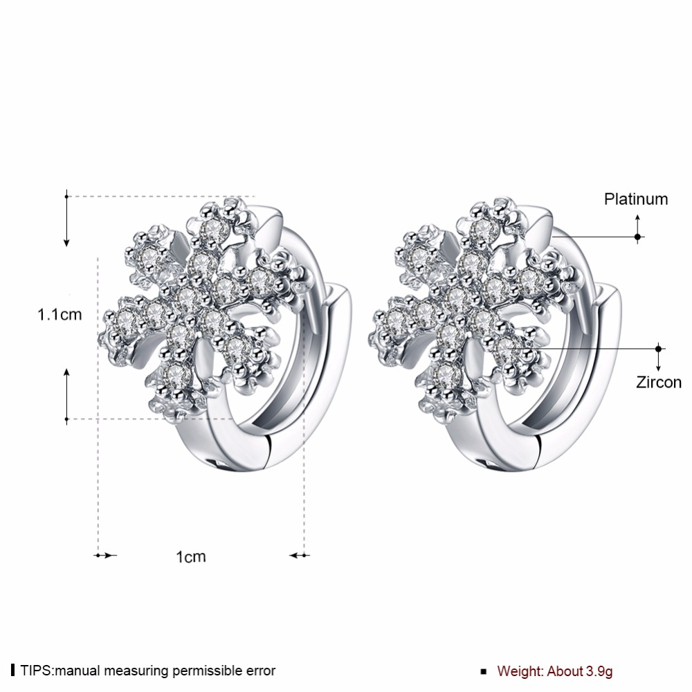CHUKUI Christmas Jewelry Small Zirconia Snowflake Crystal Circle Hoop Earrings Gold Hoops Earings Bijoux Femme (4)