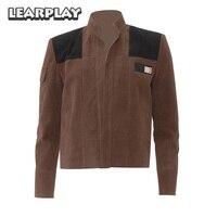 Star Wars Han Solo Faux Suede Replica Jacket Cosplay Costume Brown Outwear Men Zipper Spring Autumn Halloween Uniform Top