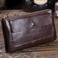 Misfits Vintage Men's Genuine Leather Wallets Male 100% Real Leather Retro Zipper Clutch For Phone Man Gift Box Package MZ4049
