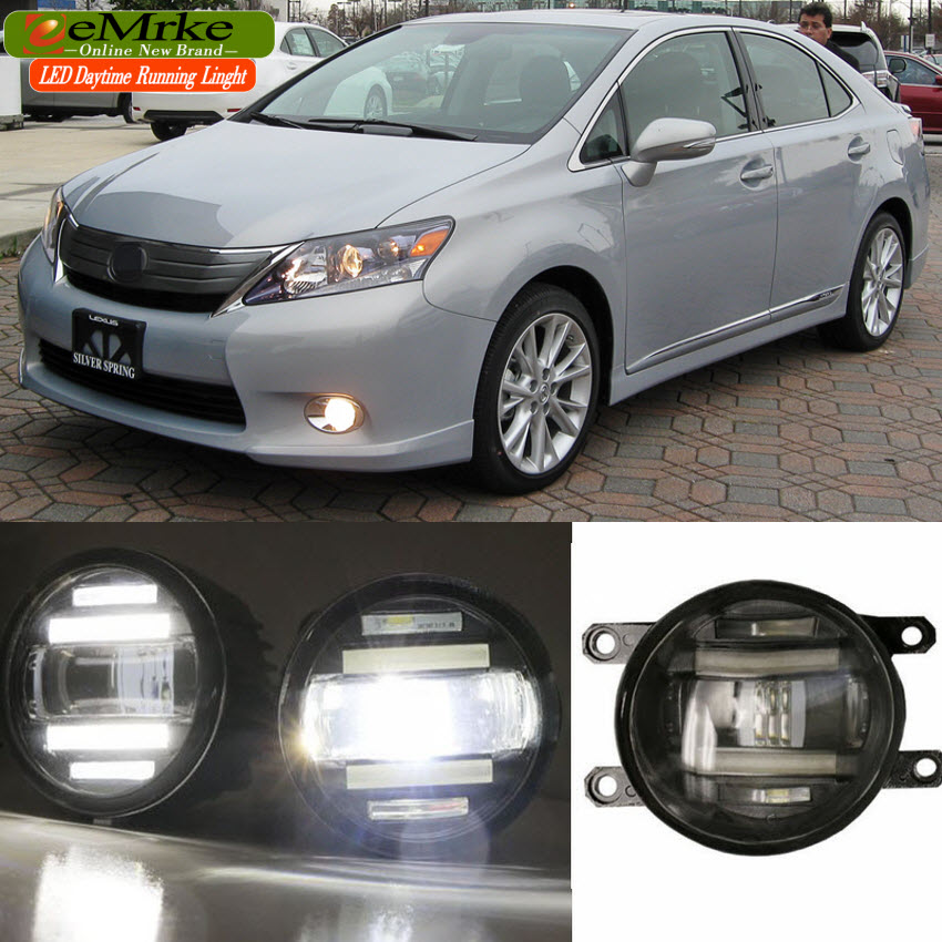 eeMrke For Lexus HS250h 2010 2011 2012 Xenon White High Power 2 in 1 LED DRL Projector Fog Lamp With Lens eemrke xenon white high power 2 in 1 led drl projector fog lamp with lens daytime running lights for renault kangoo 2 2008 2015