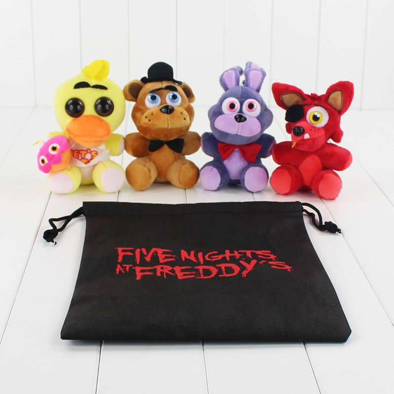 4 Styles FNAF Five Nights At Freddy Bear & Fox & Duck & Rabbit & Clown Keychains Pendant Juguetes Plush Toys