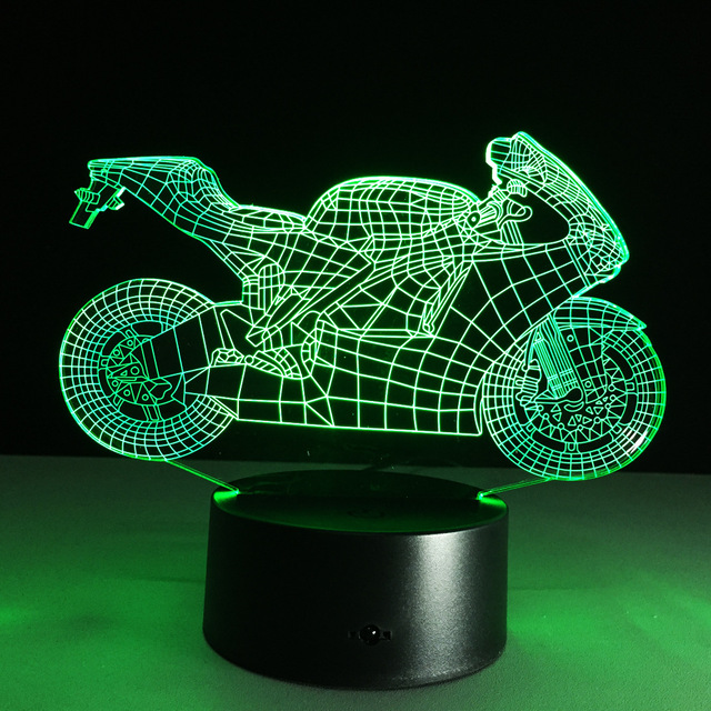 Art Deco Acrylic LED Lamps Children Bedroom Sleep Light 3D Motorcycle Table  Lamp Night Light Touch