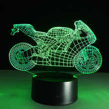Art Deco Acrylic LED Lamps Children Bedroom Sleep Light 3D Motorcycle Table Lamp Night Light Touch Switch Bedroom Kids Gift(China)