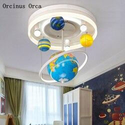 Cartoon kreatywny obrotowy Globe żyrandol chłopcy sypialnia dla dzieci światła nowoczesne proste LED Planet żyrandol darmowa wysyłka Wiszące lampki    -