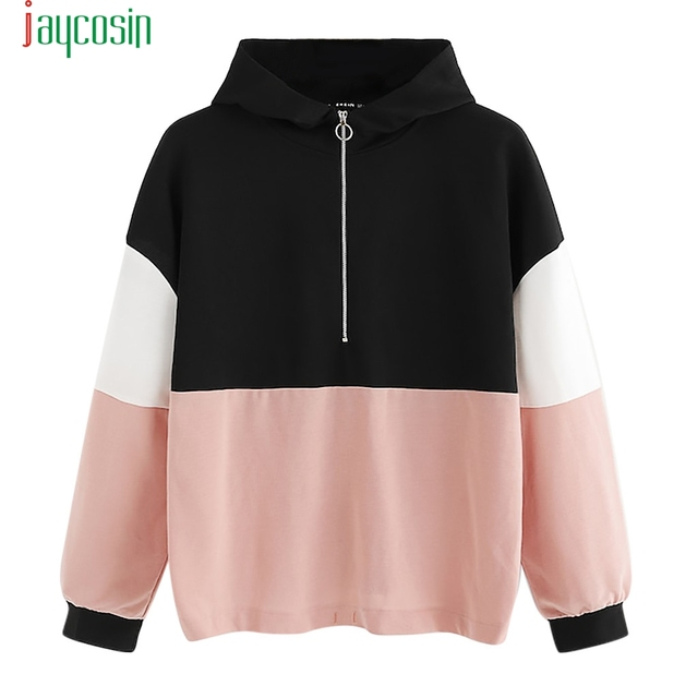 4375385ff02 JOYCOSIN Women Pullovers O-Ring Zip Front Cut and Sew Sweatshirt Athleisure  Stand Collar Raglan Sleeve Sweatshirt D0811
