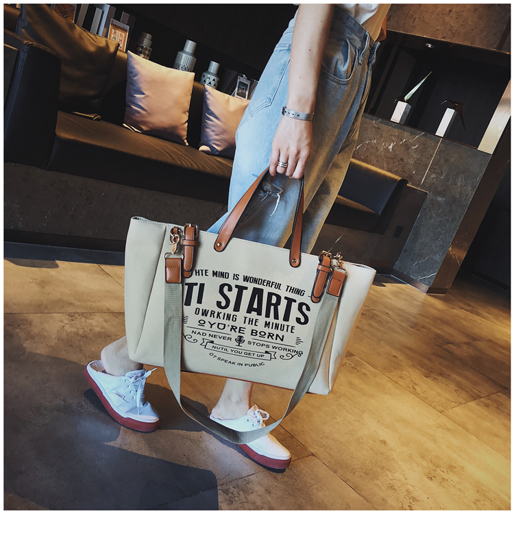 Luxury Ladies Bags Canvas Fashion Large Capacity Tote Bags Letter Shoulder Messenger Bags for Women 2018 Casual Tote Luis Vuiton 7