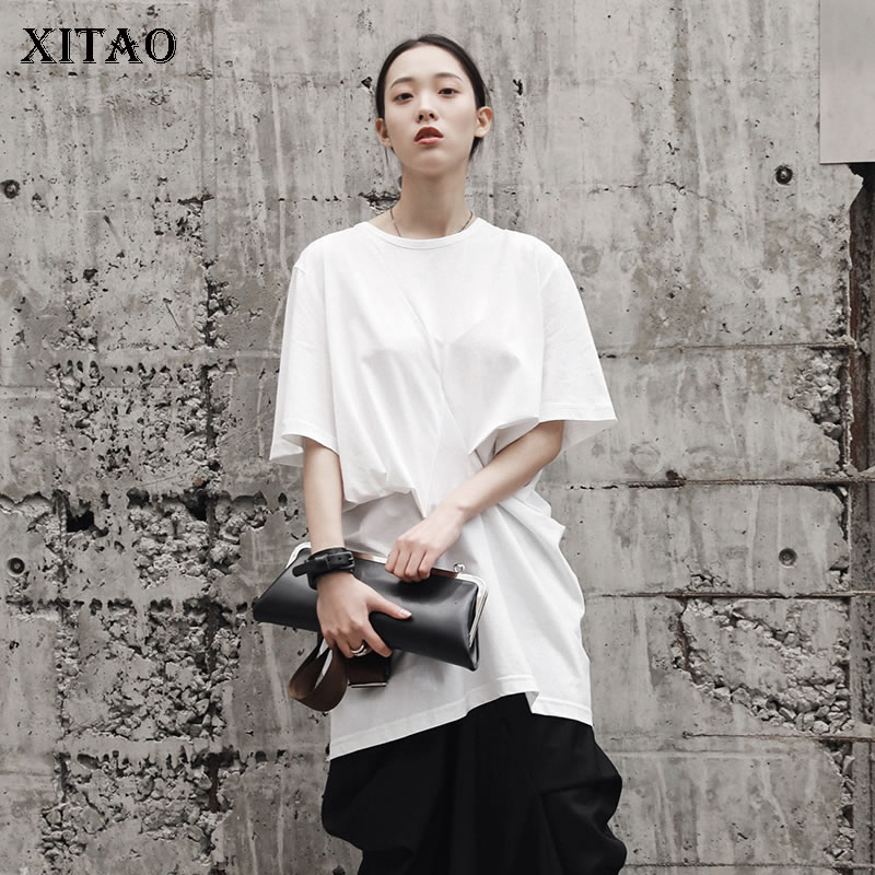 [XITAO] Summer 2018 New Women Hong Kong Fashion O-neck Half Sleeve Pullover Tees Female Solid Puff Sleeve Pleated T-shirt KZH162